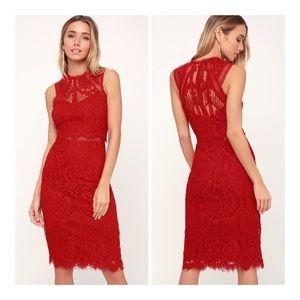 Lulus NWT Sweetness Red Lace Midi Dress